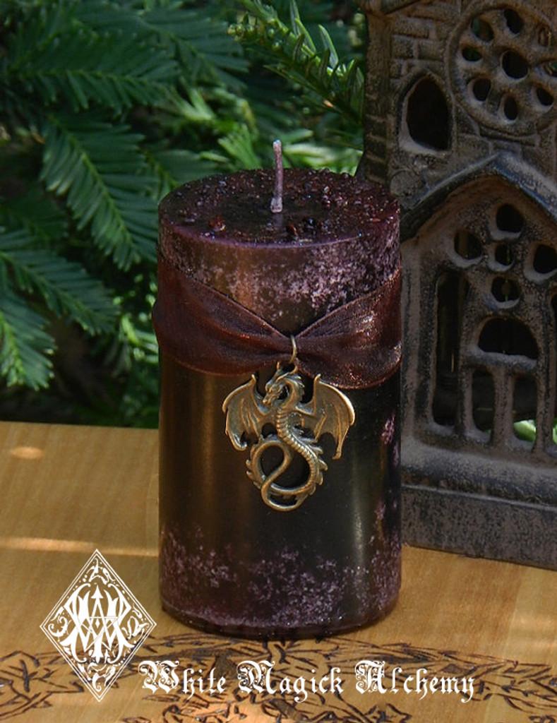 Dragons Blood Pillar Candle . Pure Golden Seal Resins