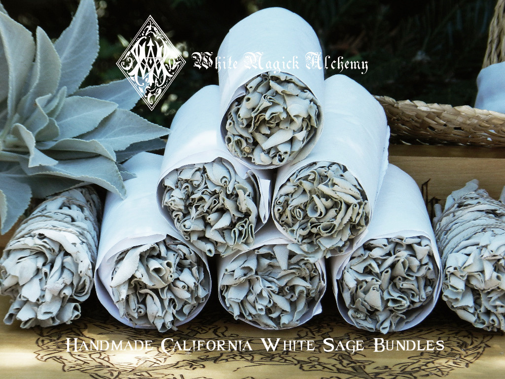 """California White Sage Handmade Smudge Wand 6"""" for Cleansing and Clearing the Home of Negativity, Spiritual Cleansing, Banishing, Protection"""