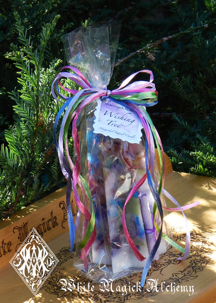 Wishing Tree Sacred Intent Candle with Magickal Wishing Powders . Wishes, Abundance, Health, Love, Luck, Transformation, Change