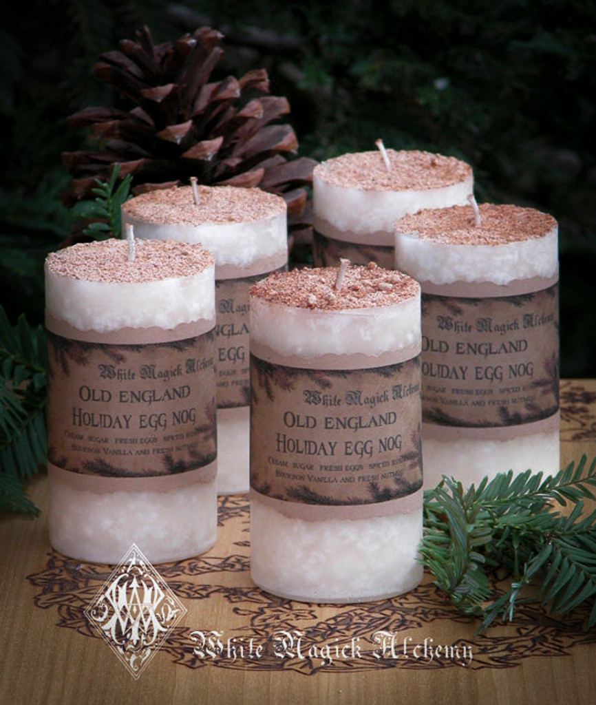 Old England Egg Nog Holiday Pillar Candles with Cream, Sugar, Spiced Rum and Bourbon Vanilla Topped with Fresh Nutmeg