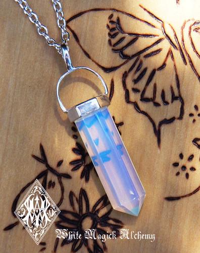 Opalite Pendulum Necklace . Meditation, Communication, Success, Peace, Sleep, Release Worry, Fear, Sex