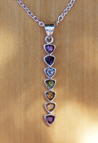 Chakra Sterling Silver Straight Drop Pendant