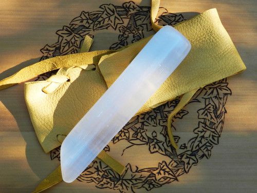 Selenite Gemstone Sword Wand Natural #8. Hand Carved Polished Blade with Natural Buck Leather Pouch