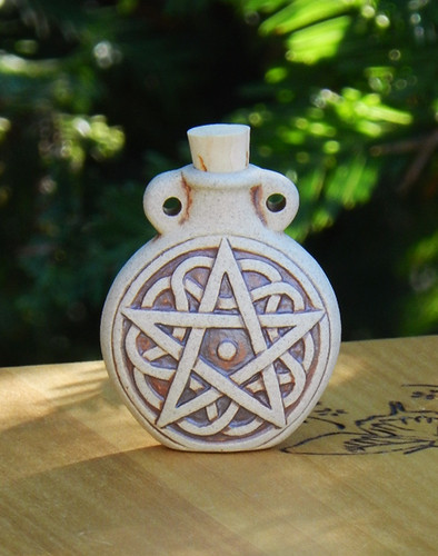 Pentacle Pentagram Ceramic Bottle Natural . Spell Oils, Diffuser, Ashes, Pendant