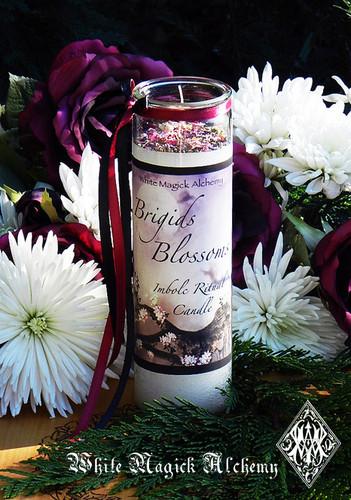 Brigids Blossoms Imbolc Glass Vigil Candle . Flourishing Abundance, Renewal, Fertility