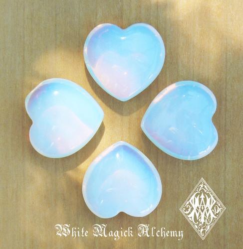 "Opalite Gemstone Heart . ""Stone of Eternity"". Meditation, Understanding, Removes Blockages"