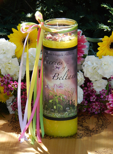 Faeries of Beltane Glass Vigil Candle . Sacred Fertility Rites, Faerie Magick, Divination, Nature Spirit Workings
