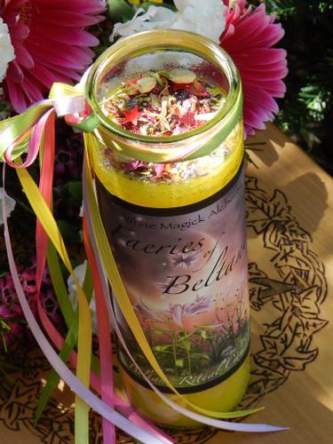 Faeries of Beltane Glass Vigil Candle . Sacred Fertility Rites, Faerie Magick, Divination, Nature Spirit Workings