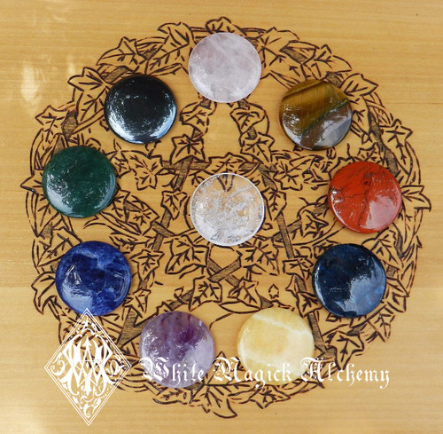 Chakra Stone Set Flat Gemstones 10pc with Case and Card