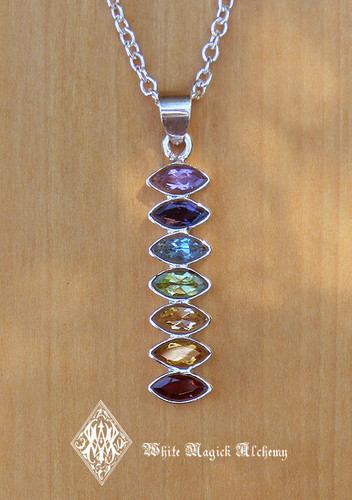 Chakra Sterling Silver Gemstone Marquise Drop Pendant