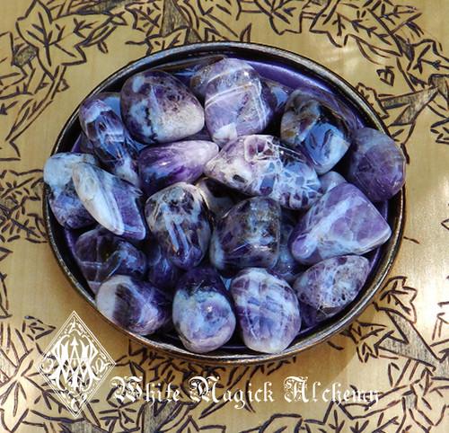 Amethyst Rare Crystal Tumbled Gemstones Pretty Banded Medium Set of 2