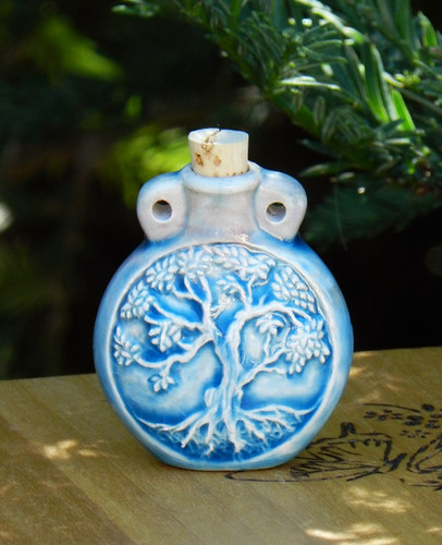 Tree of Life Ceramic Bottle . Spell Oils, Diffuser, Ashes, Pendant
