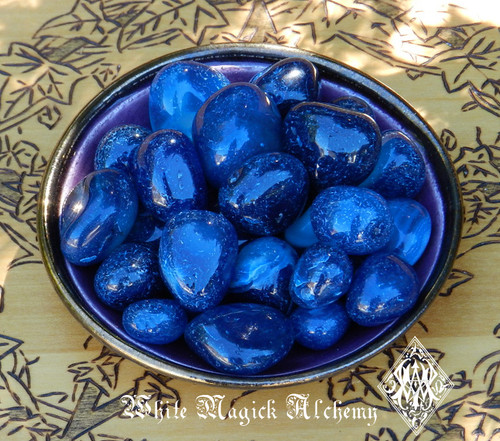 Blue Onyx Tumbled Gemstones Set of 3 Small . Intuition, Strength, Change