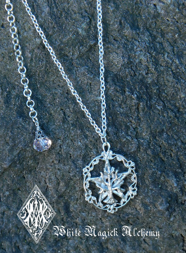 Pentacle Tree of Life Hand Cast Pendant Necklace Solid Sterling Silver Pink Champagne Crystal Drop