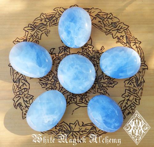 Blue Calcite Gemstone Palm Stones Healing, Anxiety, Stress