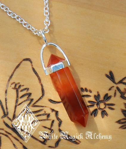 Carnelian Point Pendulum Necklace Sterling Silver