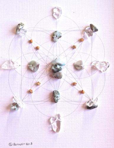 Crystal Grid ATLANTIS with Crystal Quartz and Larimar