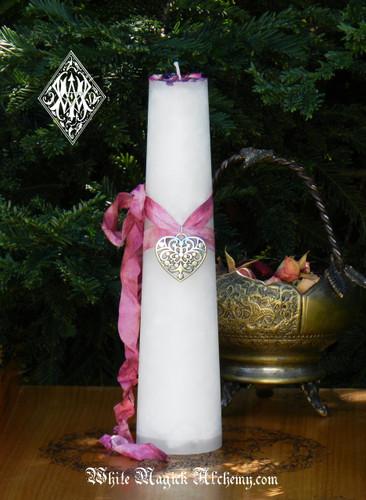 Twin Flame Love Torch Light Candle 2x9 Pillar