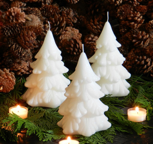 Sparkling Snow White Yule Tree Candles