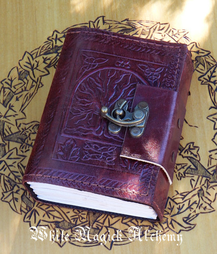 Tree of Life Small Blank Leather Journal with Lock 3.5x5""