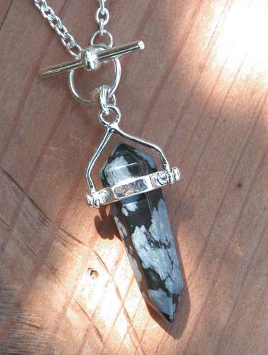 Snowflake Obsidian Double Pendulum Necklace . Peace, Balance, Change, Growth, Deflecting Negative Energies, Stress and Anxiety