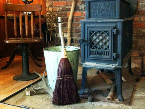 Hearth Broom ~ Rust ~ Old World Style All Organic Broom