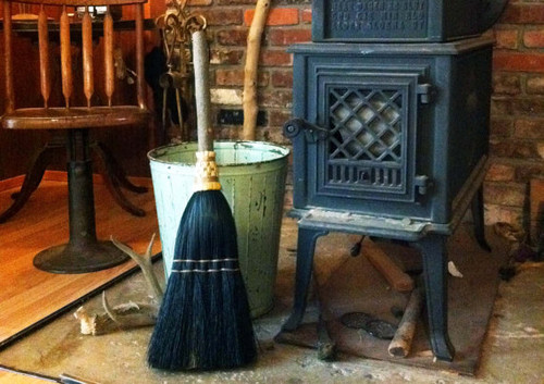 Hearth Broom ~ Black ~ Old World Style All Organic Broom
