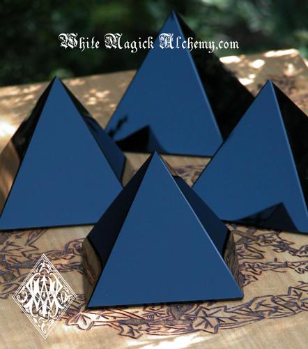 "Black Obsidian Crystal Gemstone Pyramid 3"" for Stress, Anxiety, Banishing and Deflecting Negative Energy"