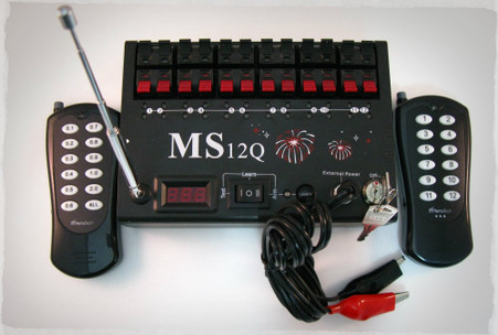 Included is the RFRemotech MS12Q firing system, keys, external battery jumper, 100 meter manual transmitter, and 100 meter sequence transmitter.