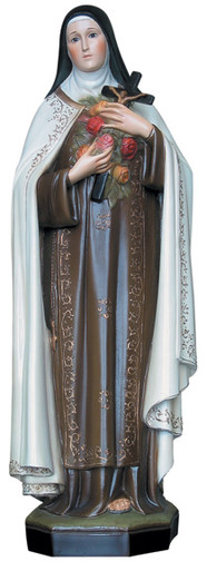 "Saint Thérèse - Standing, Hand-painted. Saint Therese of Lisieux, ""the Little Flower."""