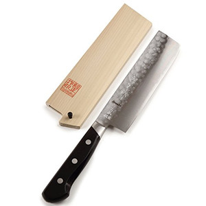 Syosaku Japanese Vegetable Knife Aoko(Blue Steel)-No.2 Black Pakkawood Handle, Nakiri 6.5-inch (160mm) with Magnoila Wood Saya Cover - Ships from USA