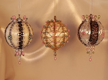 Handmade Ornaments - Special Sets of Three - Save 40%!! – Pink and Green (with a touch of Black Tie!) Set