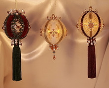 Handmade Ornaments - Special Sets of Three - Save 40%!! – Burgundy, Gold and Hunter Green Set