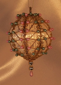 "Handmade Christmas Ornaments ""Celeste"" (Victorian pink and green)"