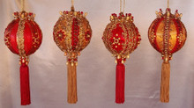 Set of Four Ornaments in Free hatbox - A great gift to give or to keep - Red & Gold