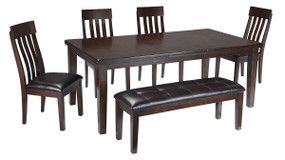 Haddigan Dark Brown 6 Pc. Rectangular Dining Room Extension Table, 4 Upholstered Side Chairs & Upholstered Bench