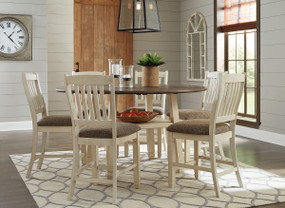 Bolanburg Two-tone 7 Pc. Round Drop Leaf Counter Table & 6 Upholstered Barstools