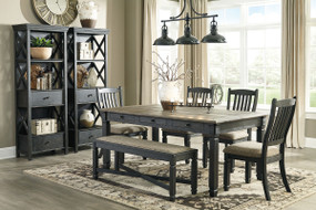 Tyler Creek Black/Gray 8 Pc. Rectangular Dining Room Table, 4 UPH Side Chairs, UPH Bench & 2 Display Cabinets