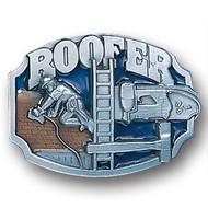 Roofer Pewter and Enamel Belt Buckle