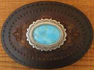 Silver and Turquoise Concho Leather Belt Buckle