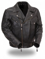 "Men's Altimate ""Chicago"" Classic Style Leather Coat"