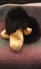 Tan Leather Mitten With Black Fox Fur