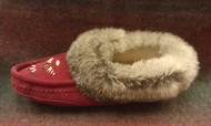 Women's Laurentian Chief Burgundy Moccasin With Rabbit Fur