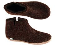 Glerups Brown Wool Boot Slipper