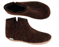 Glerups Brown Wool Boot Slipper