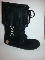 Women's Laurentian Chief Black Tall Moccasin