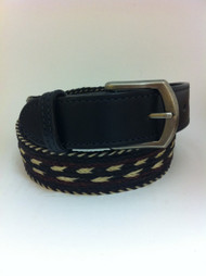 Colorado Horsehair Black, Light Tan, and Maroon Braided Belt