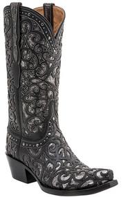 Women's Lucchese Sierra Black with Metallic Inlay Western Boot