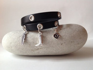 Double wrap bracelet with silver charms