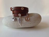 Triple wrap leather charm bracelet